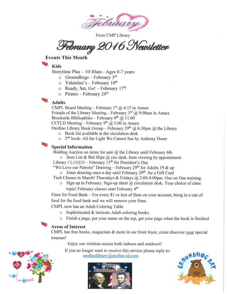 February 2016 Library Newsletter