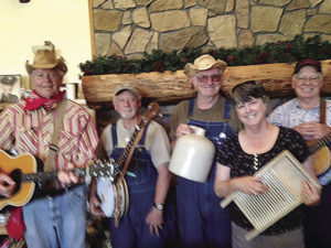 Merc Cannell, Ray Jones, Ted Leach, Susan Larson, and Mike Riccomini (l to r) and Julie Hutchinson (not pictured) will provide the wild entertainment for this year's CMPL Friends library fundraiser.